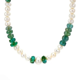 Necklace with 36.80ct TW Genuine Emeralds and 5-7mm Freshwater Pearls in 925 Sterling Silver
