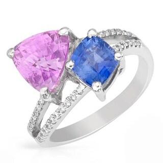 SIRO 18K White Gold 5.18ct TW Diamond Sapphire Ring