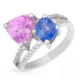 SIRO 18K White Gold 5.18ct TW Diamond Sapphire Ring
