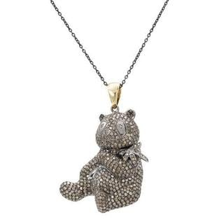 14k Gold and Sterling Silver Panda Bear Necklace with 4.46ct TW Diamonds