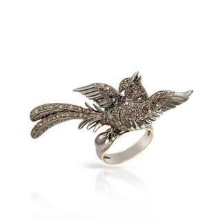 14K Gold/Sterling Silver 1.09ct TDW Genuine Diamond Bird Ring