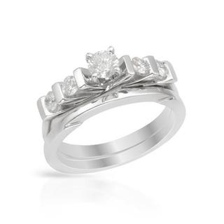 14k White Gold 1/2ct TDW Diamond Bridal Set