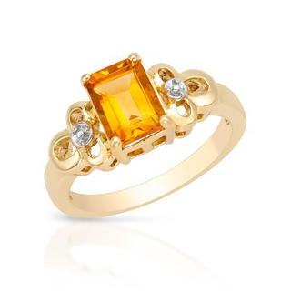 Ring with 1.6ct TW Citrine in Yellow Gold