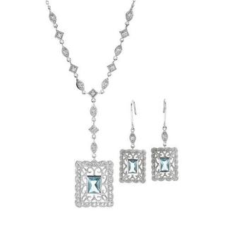 Jewelry Set Earrings with Cubic Zirconia .925 Sterling Silver
