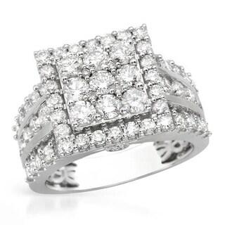White Gold 3ct TDW Black and White Diamond Engagement Ring