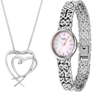 Rotary Women's Watch and Sterling Silver Diamond Heart Necklace Box Set