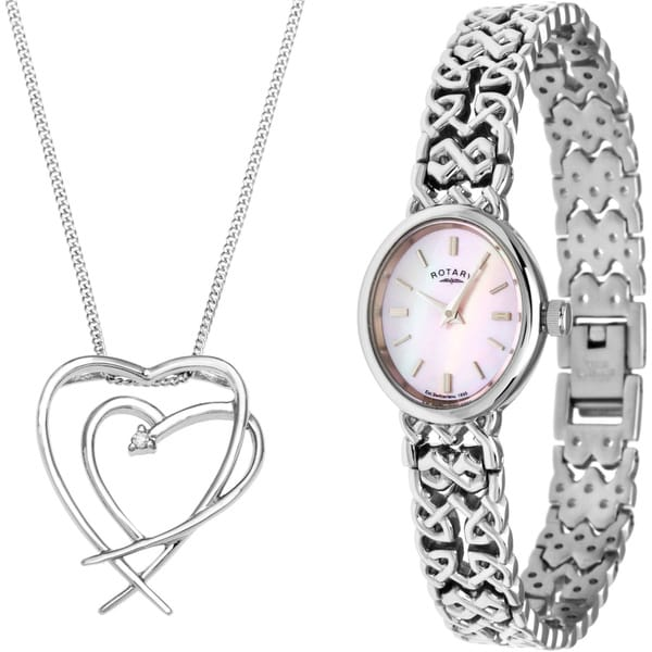 Rotary Women's Watch and Necklace Set