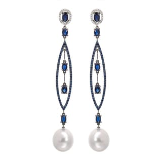 18k Two-tone Gold Autore Earrings with 0.22ct TDW Diamonds 11mm South Sea Pearls and Sapphires
