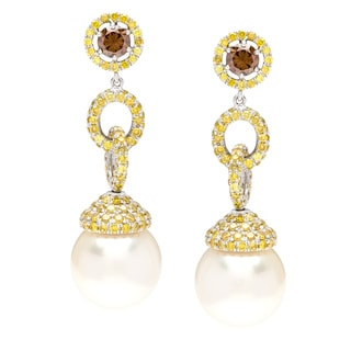 Autore 18K White Gold 3.8ct TW Natural Yellow Diamond South sea Pearls Earrings (13 mm)