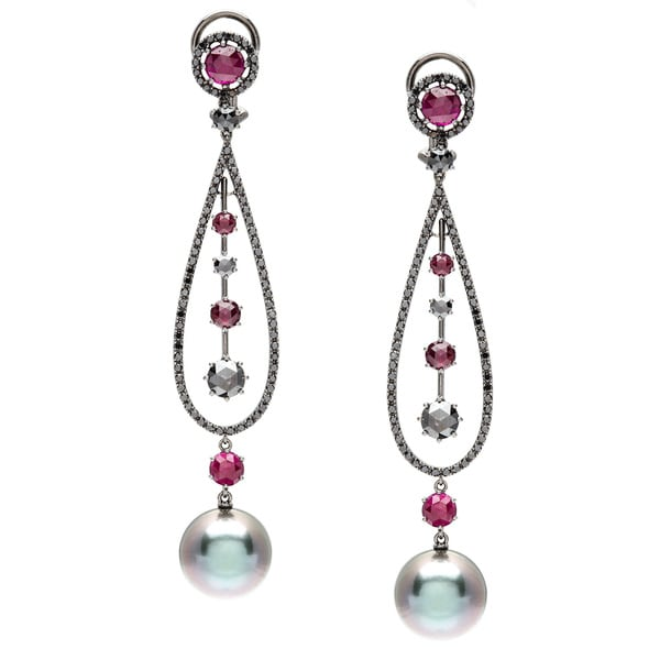 Autore! Made in Italy Earrings 5.73ct TW Diamonds, Rubies and 13mm Peacock Green South Sea Pea