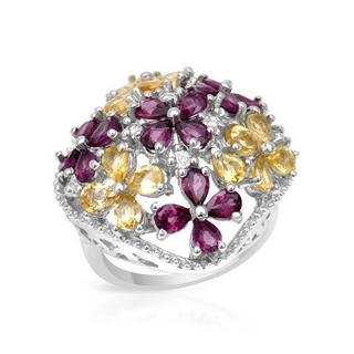 Ring with 5.2ct TW Aquamarines, Citrines and Rhodolite Garnets Crafted in .925 Sterling Silv