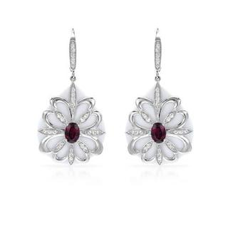 Yours by Loren Earrings with 20.35ct TW Agates, Rhodolite Garnets and Topazes in 925 Sterlin