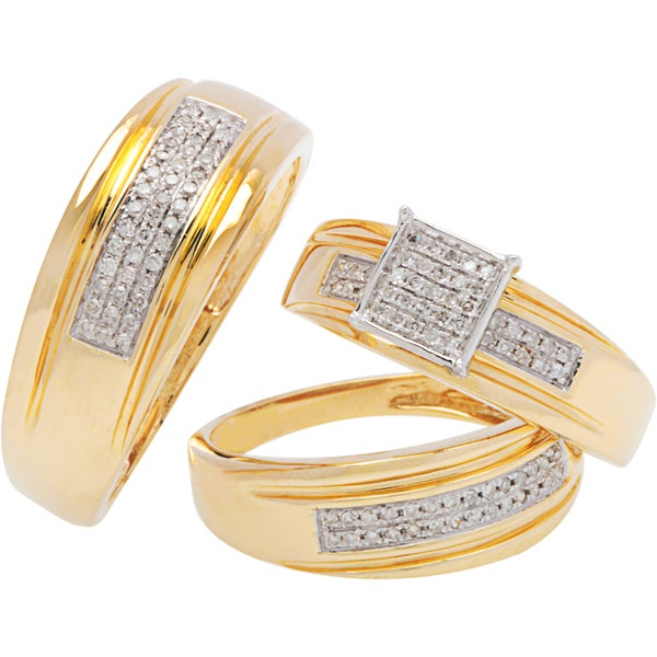 Jewelry Set Rings with Diamonds 14K Two-tone Gold Combined Item