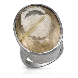 Cocktail Ring with 55.21ct TW Rutilated Quartz in .925 Sterling Silver
