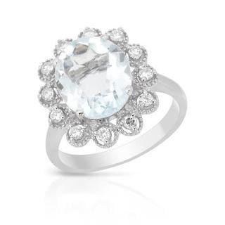 Ring with 4.23ct TW Aquamarine and Diamonds 14K White Gold