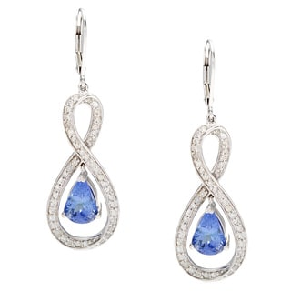 Celine F Earrings with 4 1/20 GTW Diamonds and Tanzanites 14K White Gold