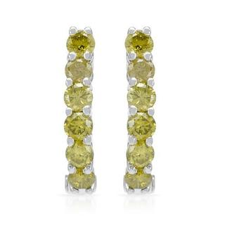 Hoops Earrings with 0.93ct TW Fancy Intense Yellow enhanced Diamonds in White Gold