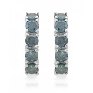 Earrings with 0.91ct TW Fancy Intense Blue enhanced Diamonds in White Gold