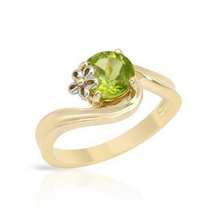 Ring with 1.3ct TW Peridot in Two-tone Gold