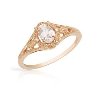 Ring with 0.50ct TW Genuine Diamonds and Morganite 14K Rose Gold