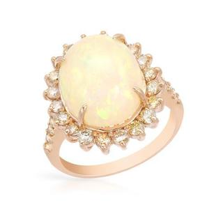 Cocktail Ring with 6.47ct TW Diamonds and Opal Crafted in 14K Rose Gold