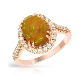 Cocktail Ring with 2.72ct TW Diamonds and Opal in 14K Rose Gold