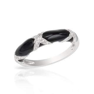 Channel Ring with Diamonds Black Enamel/ .925 Sterling Silver