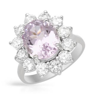 Ring with 6.4ct TW Diamonds and Kunzite in 14K White Gold