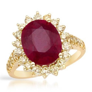 Cocktail Ring with 5.65ct TW Diamonds and Composite Ruby in 14K Yellow Gold