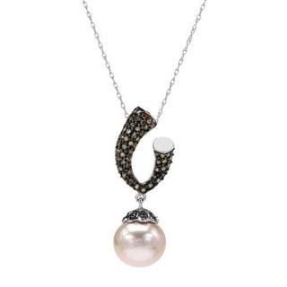 Necklace with Diamonds/ 100mmFreshwater Pearl 14K White Gold