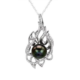 Necklace with 1.90ct TW Cubic Zirconia and 11.5mm Freshwater Pearl in 925 Sterling Silver