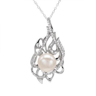 Necklace with 1.90ct TW Cubic Zirconia and 12.0mm Freshwater Pearl in 925 Sterling Silver