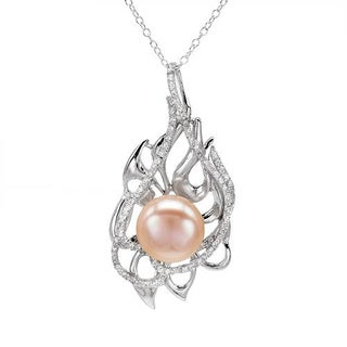 Sterling Silver 1.9ct CZ/ Pearl Necklace