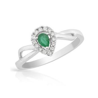 Ring with Diamonds/ Emerald in 14K White Gold