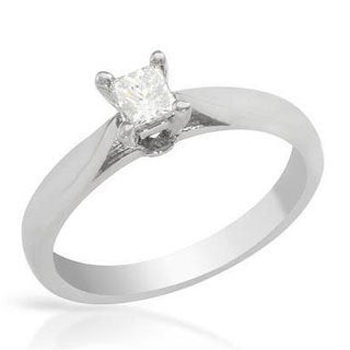 Solitaire Ring with Genuine Princess Cut Diamond 14K White Gold