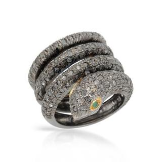 Snake Ring with 2.62ct GTW Diamonds and Emeralds in Black Gold-plated Sterling Silver size 5.5