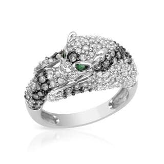 14k White Gold 1.97ct TDW Diamond and Emerald Cat Ring