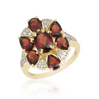 Ring with 4.61ct TW Diamonds, Garnets Crafted in Yellow Gold
