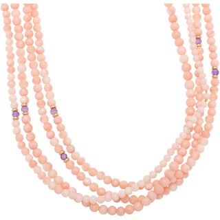 Enzo Liverino Necklace with 4 1/2ct TW Amethysts and Corals of 18K Yellow Gold