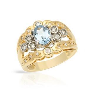 18k Gold and Platinum 1.22ct TW Aquamarine and Diamond Ring