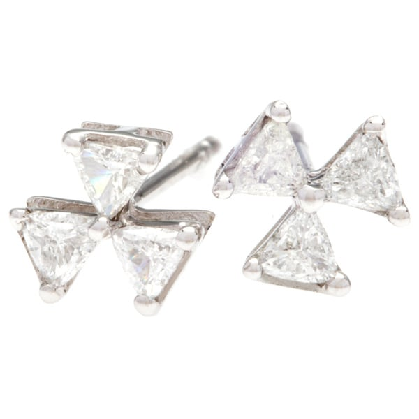White Gold Trillion Cut Diamond Stud Earrings