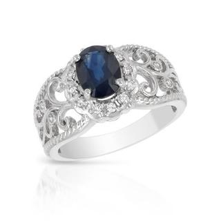 FORELI Ring with 1.20ct TW Genuine Diamonds and Sapphire in 14K White Gold