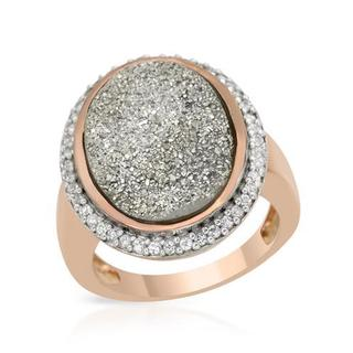 Cocktail Ring with 26.55ct TW Drusy Agate 14K/925 Gold-plated Silver