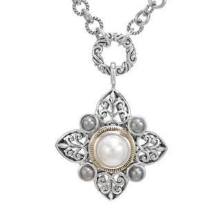 Necklace with 9mmFreshwater Pearls in 18K/.925 Sterling Silver with Gold Inlay