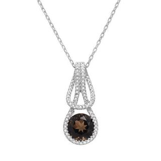 Necklace with 1.91ct TW Diamonds and Topaz in .925 Sterling Silver