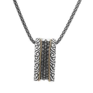 Necklace with Diamonds in 18K/.925 Sterling Silver with Gold Inlay