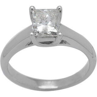 14K White Gold 1.46ct TW Princess-cut Diamond Solitaire Ring