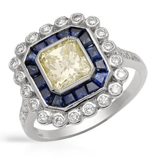 Ring with 3.25ct TW Genuine Natural Fancy Yellow Diamonds and Sapphires in 18K White Gold