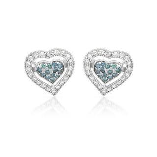 10kt White Gold 1.2ct TDW Diamond Heart Earrings
