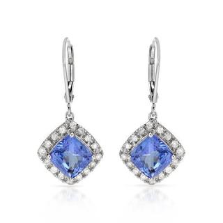 Celine F Earrings with 4.31ct TW Diamonds and Tanzanites in 14K White Gold